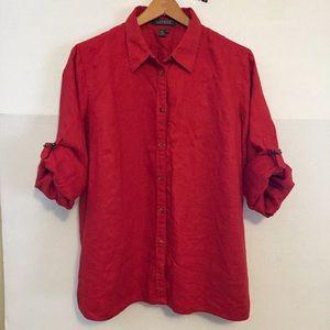 Lauren Ralph Lauren Red 100% Linen Monogram Shirt